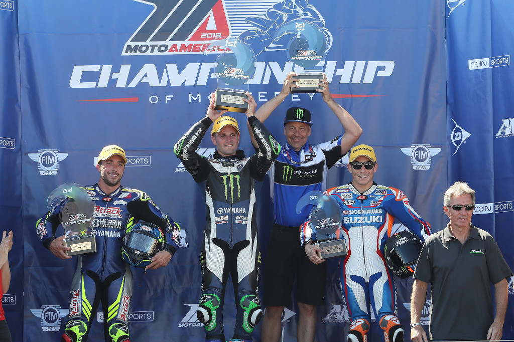 Beaubier (center) celebrates his third win in a row with Herrin (left) Roger Hayden (right) and four-time World Champion Eddie Lawson - WeatherTech Raceway Laguna Seca