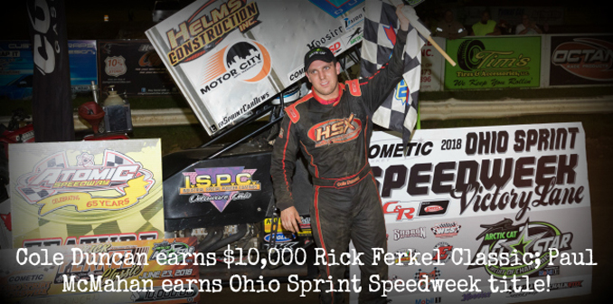 Cole Duncan claims inaugural Rick Ferkel Classic title - Paul McMahan Ohio Sprint Speedweek championship