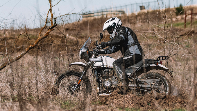 VINTAGE MOTORCYCLE DAYS - action shot of a Royal Enfield Himalayan