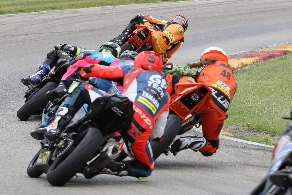 Alex Dumas (leading) won the Liqui Moly Junior Cup race on Saturday at Road America for his fourth win of the season.|Photo by Brian J. Nelson