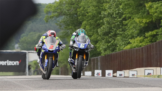 How close is close? Cameron Beaubier (6) beat Josh Herrin (2) by .002 of a second in Saturday's Motul Superbike race at Road America.| Photo by Brian J. Nelson