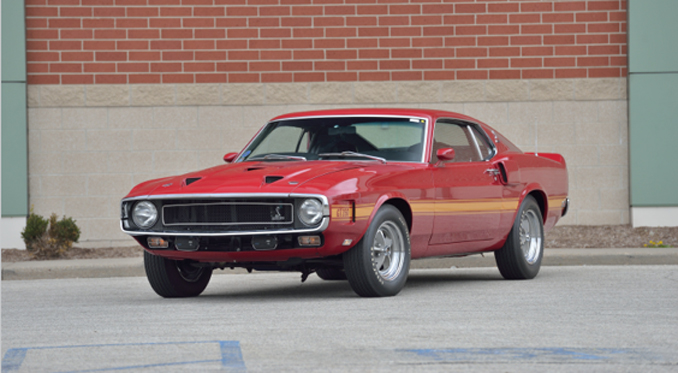 Mecum Auction - Denver - 1969 Shelby GT350 Fastback 351 CI MCA Gold (Lot S102)