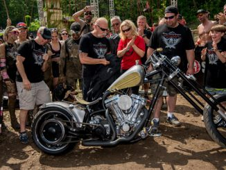 "Spartan Founder and CEO Joe De Sena joined the stars from the Discovery Channel's hit reality TV show ""American Chopper"" and representatives from the OSCAR MIKE Foundation to unveil a custom Spartan motorcycle, which was created to raise money for military veterans."