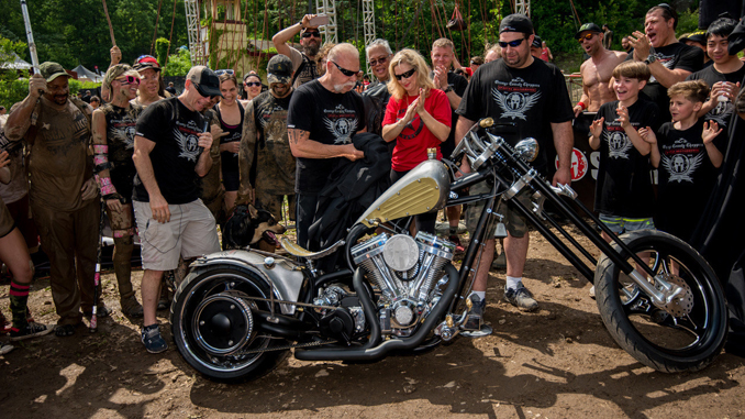 """Spartan Founder and CEO Joe De Sena joined the stars from the Discovery Channel's hit reality TV show """"American Chopper"""" and representatives from the OSCAR MIKE Foundation to unveil a custom Spartan motorcycle, which was created to raise money for military veterans."""