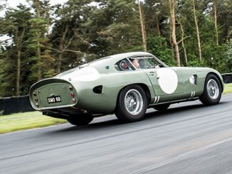 The 1963 Aston Martin DP215 Grand Touring Competition Prototype takes to the track (Credit – Simon Clay © 2018 Courtesy of RM Sotheby's).