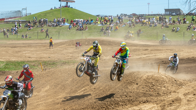 Quinn Wentzel (No. 1) competing in a motocross race during 2018 AMA Vintage Motorcycle Days, featuring Royal Enfield (credit: Jen Muecke)