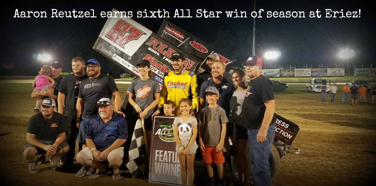 Aaron Reutzel passes Cole Duncan late for All Star victory at Eriez Speedway