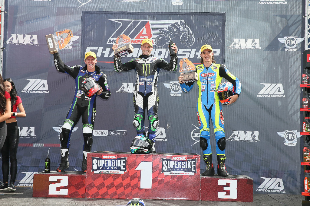 (From left to right) Garrett Gerloff, Cameron Beaubier and Jake Lewis celebrate on the Motul Superbike podium at UMC. | Photo by Brian J. Nelson