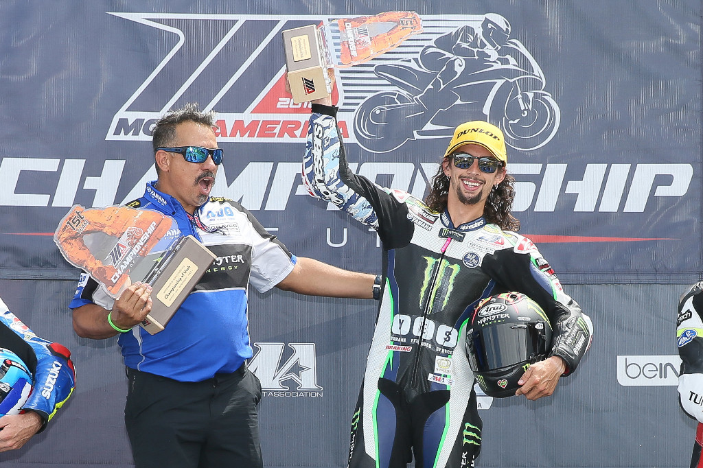 JD Beach celebrates his seventh Supersport victory of the season. | Photo by Brian J. Nelson