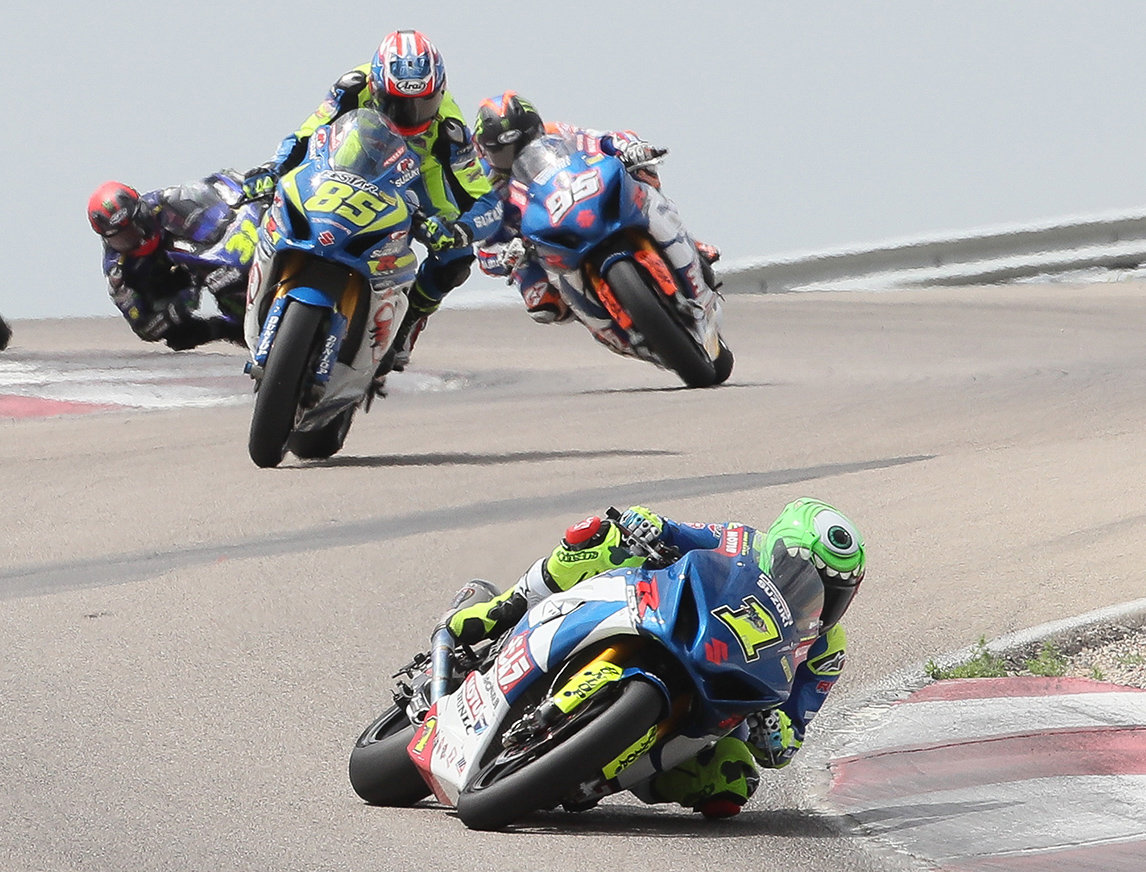 Yoshimura Suzuki's Toni Elias (1) runs up-front early in Sunday's MotoAmerica Superbike race. Giving chase are M4 ECSTAR Suzuki's Jake Lewis (85) and Elias' teammate, Roger Hayden (95). Photo by Brian J. Nelson