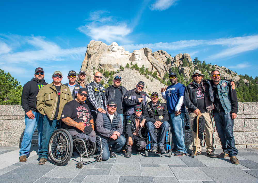 The 2017 group in front of Mount Rushmore (photo from Veterans Charity Ride/Sara Liberte)