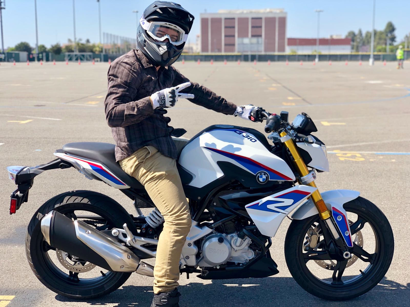 A Westside Motorcycle Academy student rides the BMW G 310 R during a course