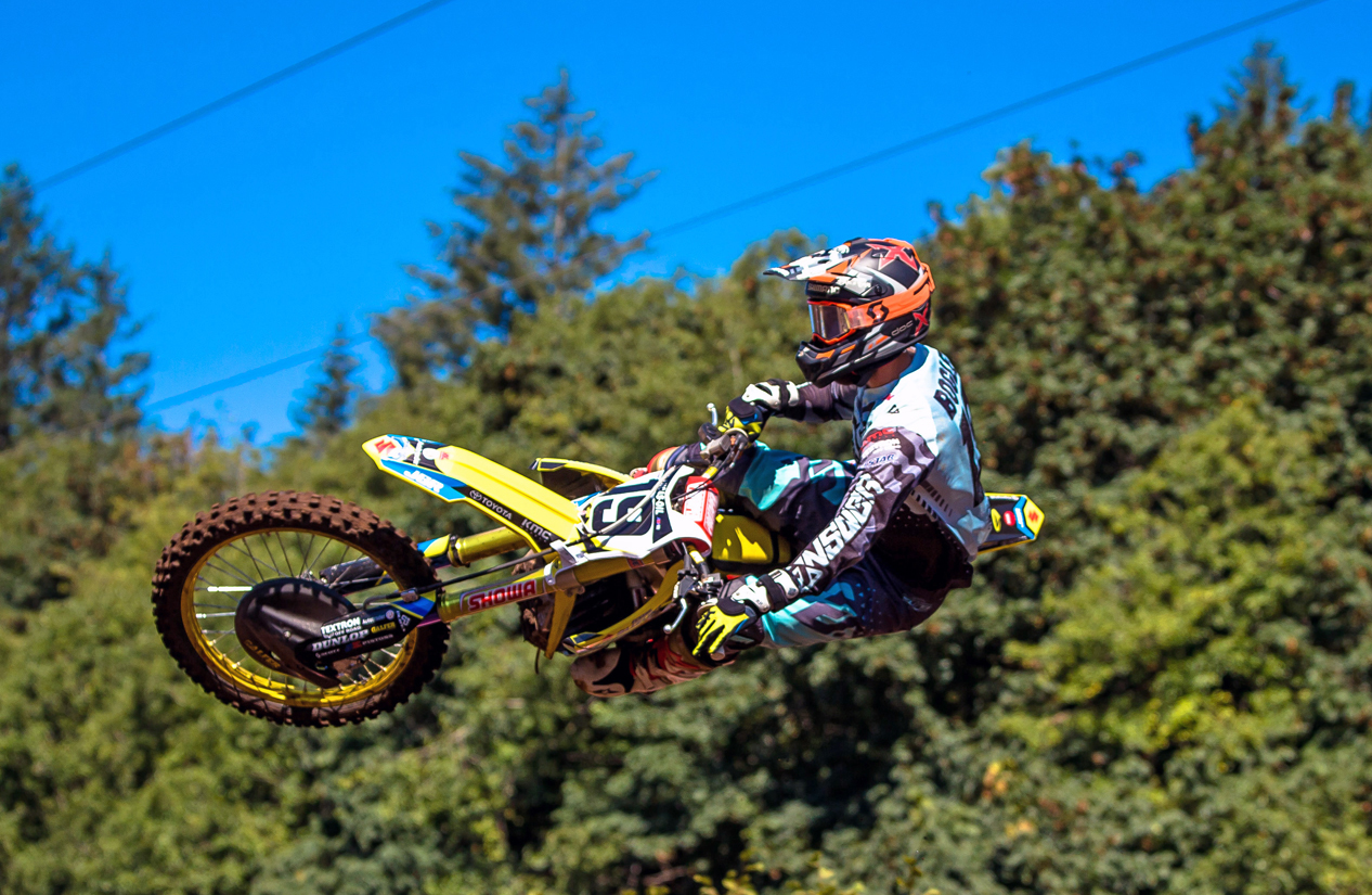 Justin Bogle (19) continues to use his Suzuki RM-Z450 to leap out of the starting gate first. Six holeshots in the last eight motos is evidence that both man and machine rule the chase to the chalk.
