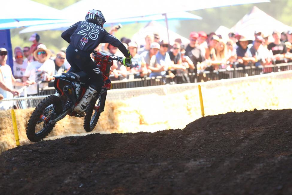 McElrath's first career moto win carried him to second overall. - Washougal National