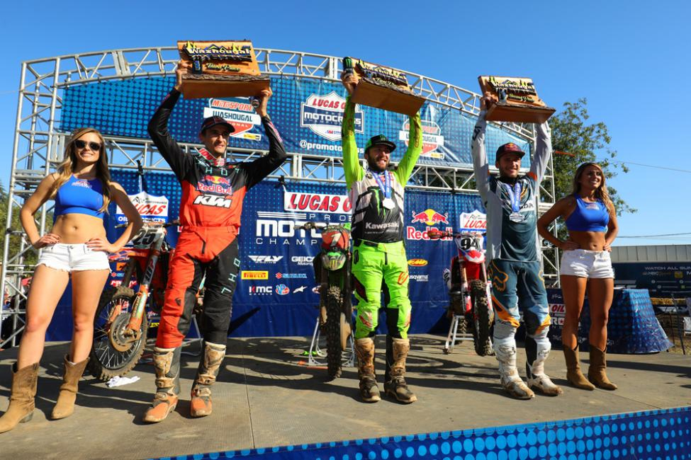 The 450 Class overall podium. - Washougal National