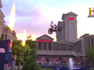 Travis Pastrana honors Evel Knievel by jumping Caesars Palace fountain in Las Vegas