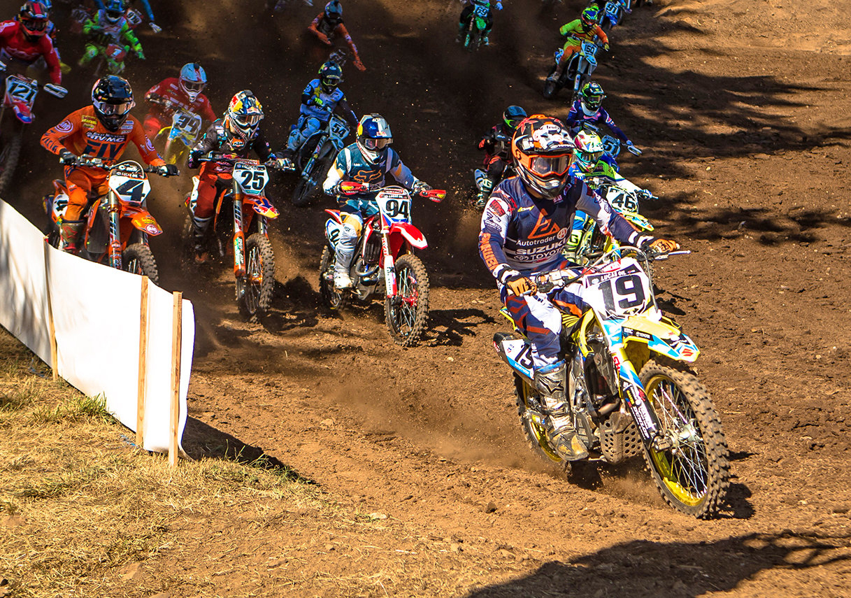 Justin Bogle (19) takes yet another holeshot at the Washougal National MX on his RM-Z450