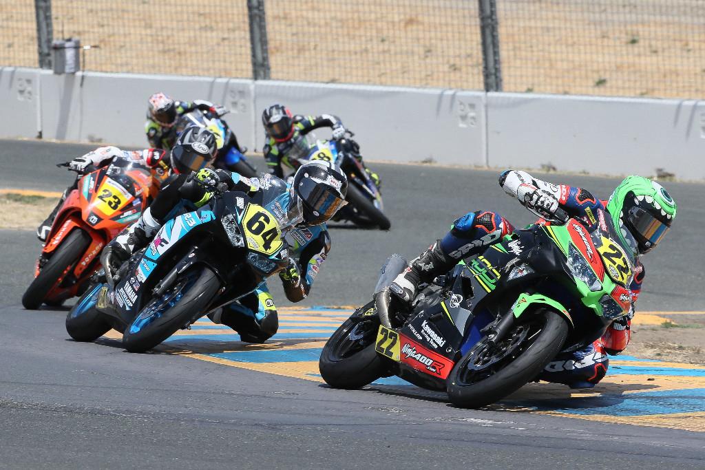 Ashton Yates (22) lead Cory Ventura (64) and Alex Dumas (23) ran at the front - Sonoma Raceway