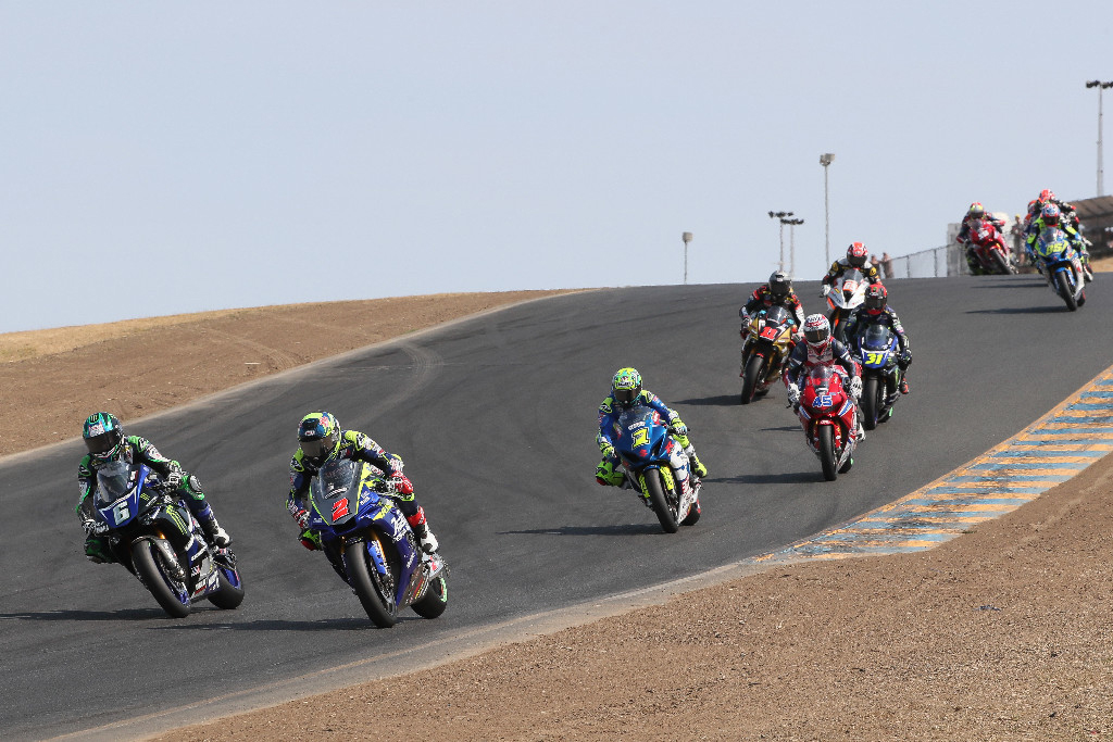 Cameron Beaubier (6) battled briefly with Josh Herrin (2) on the opening lap - Sonoma Raceway