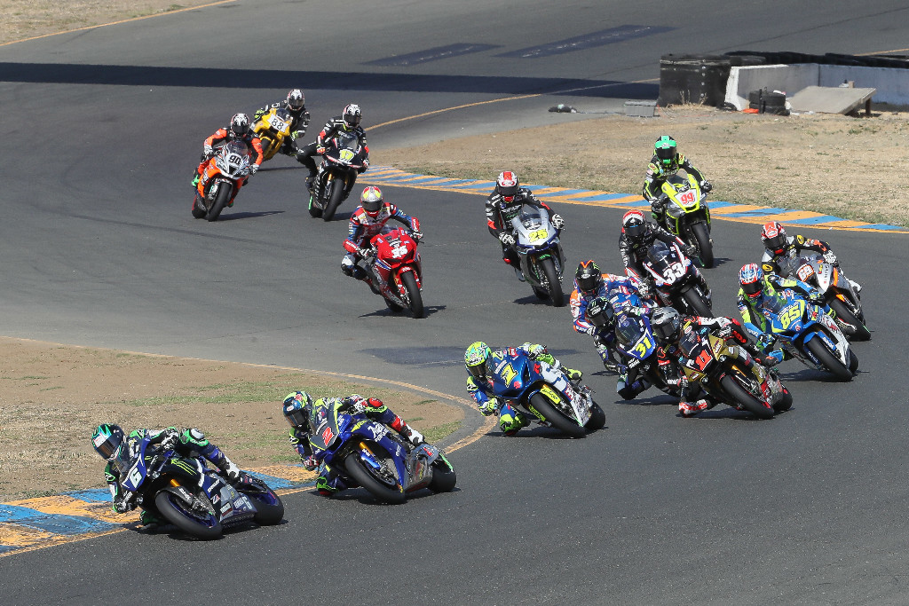 Beaubier (6) led Josh Herrin (2), Toni Elias (1), Mathew Scholtz (11) and the rest of the Motul Superbike field in turn two at Sonoma Raceway. | Photo by Brian J. Nelson