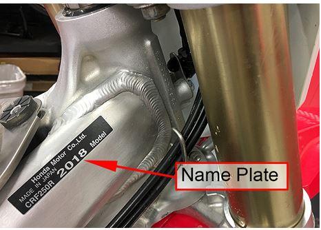 CPSC - Honda Recall - CRF250R - Name Plate