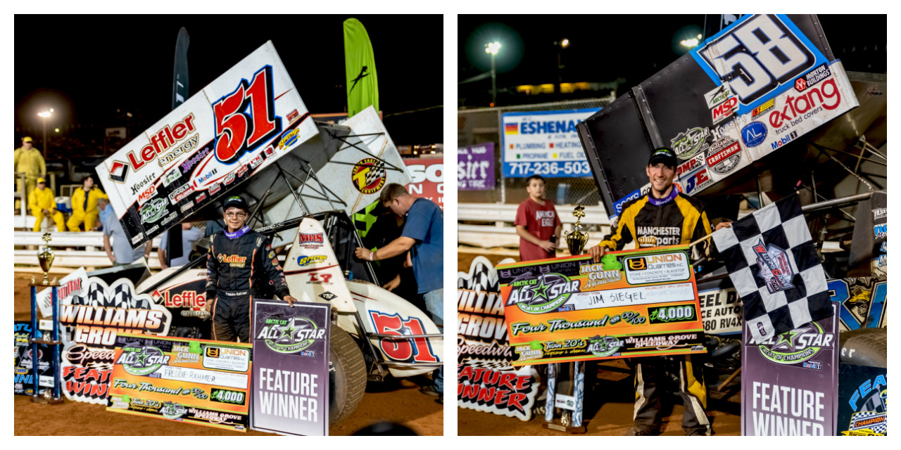Freddie Rahmer and Jim Siegel win Jack Gunn Memorial Twin 20's at Williams Grove Speedway