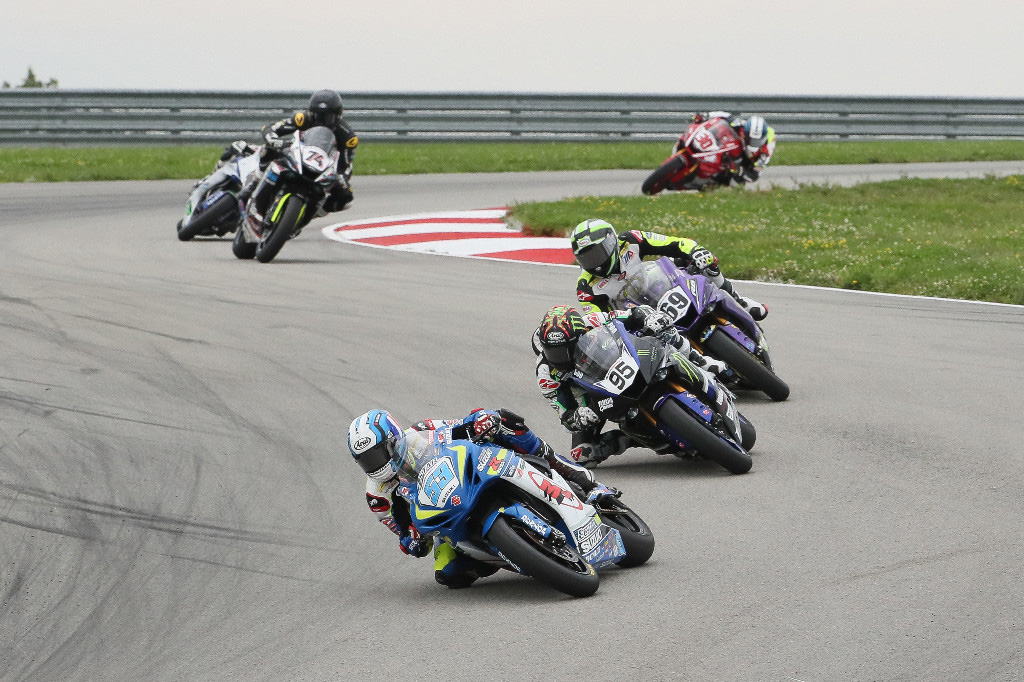 Championship of Pittsburgh - Valentin Debise (53) held off Hayden Gillim (69) to win the Supersport race