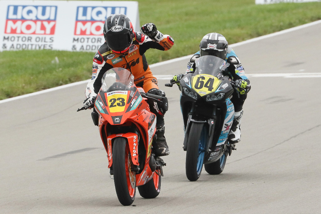 Alex Dumas (23) beat Cory Ventura (64) to the line to win the Liqui Moly Junior Cup race on Sunday