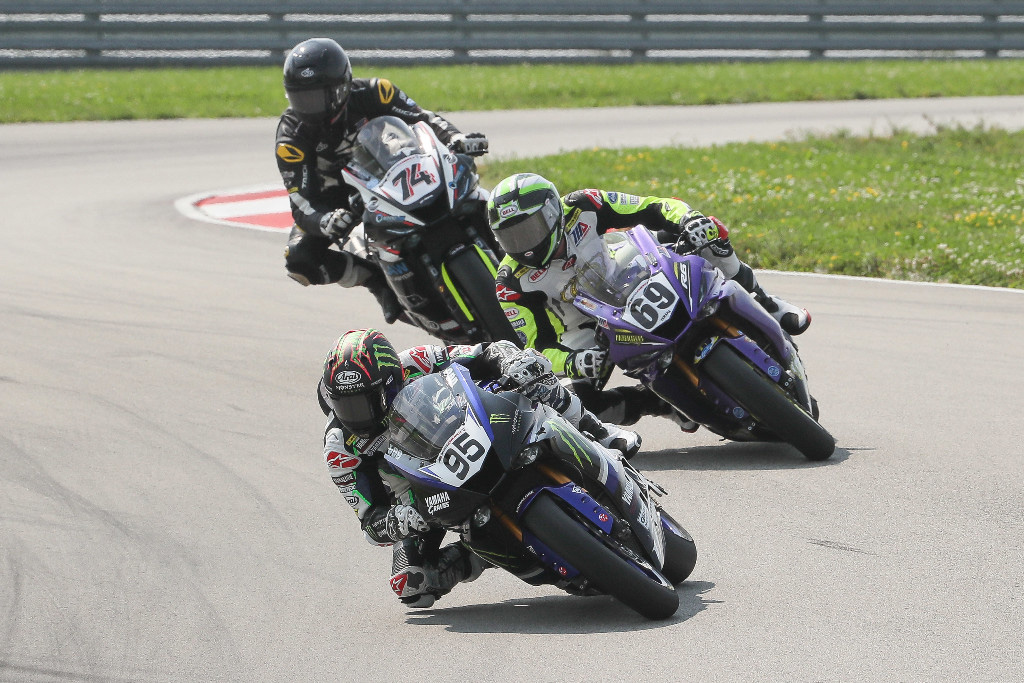 JD Beach (95) bested Hayden Gillim (69) and Bryce Prince (74) to win the Supersport race on Sunday at PittRace