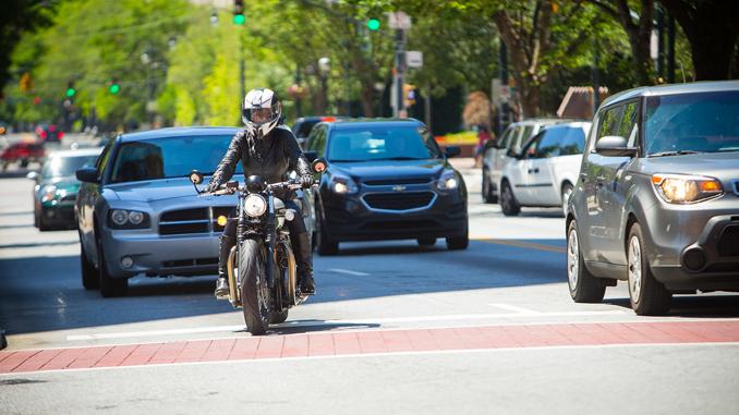 Labor Day weekend - motorcyclist in traffic (credit- Jeff Kardas)
