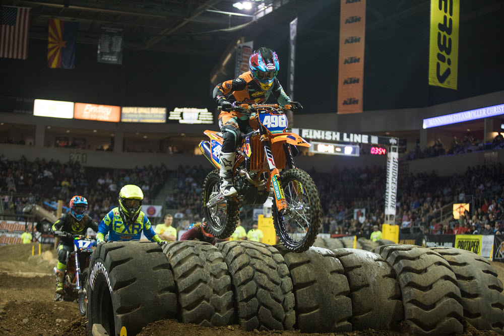 FMF KTM's Kacy Martinez took the lead on the last lap to take the opening round win over Shelby Turner