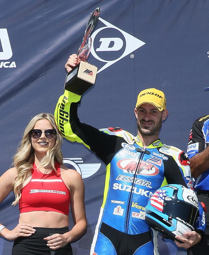 M4 ECSTAR Suzuki's Valentin Debise celebrates Team Hammer 199th AMA-MotoAmerica podium