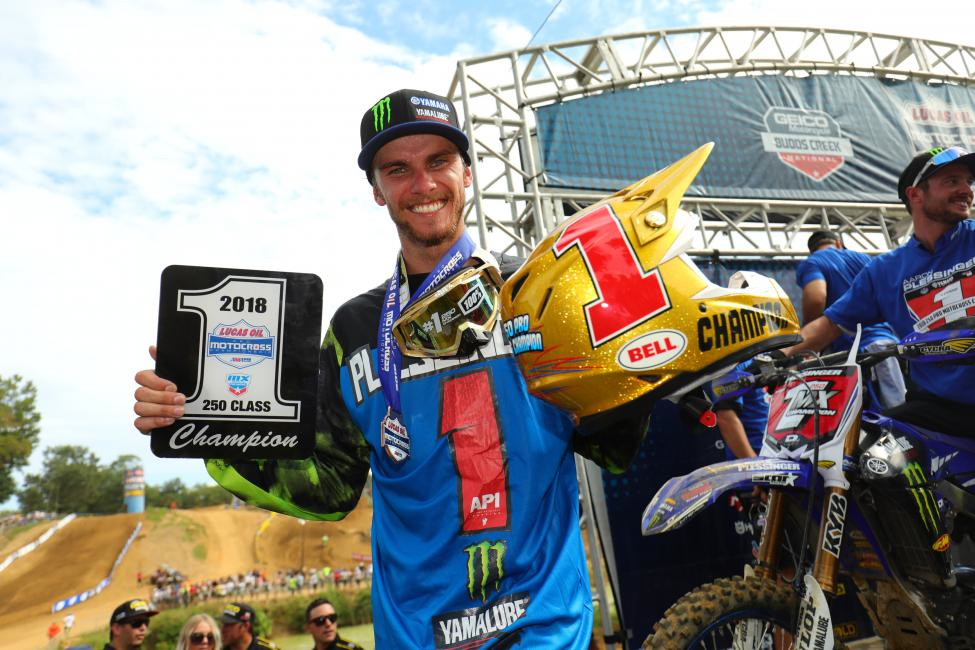 Plessinger is the 2018 Lucas Oil Pro Motocross 250 Class Champion, clinching the Gary Jones Cup at Budds Creek. - Jeff Kardas