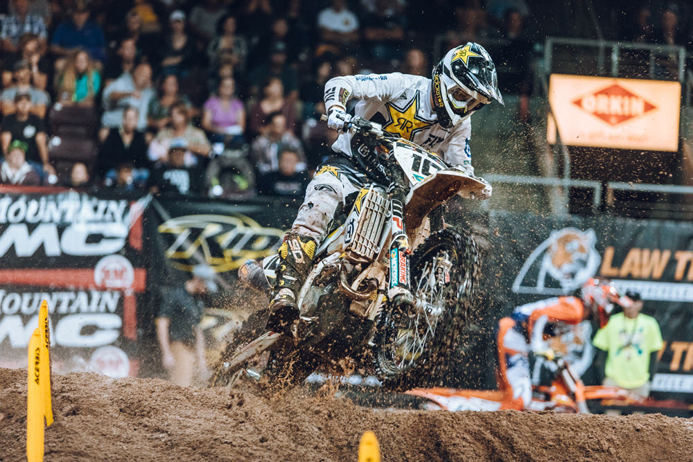 Rockstar Husqvarna's Colton Haaker led multiple laps and finished second.