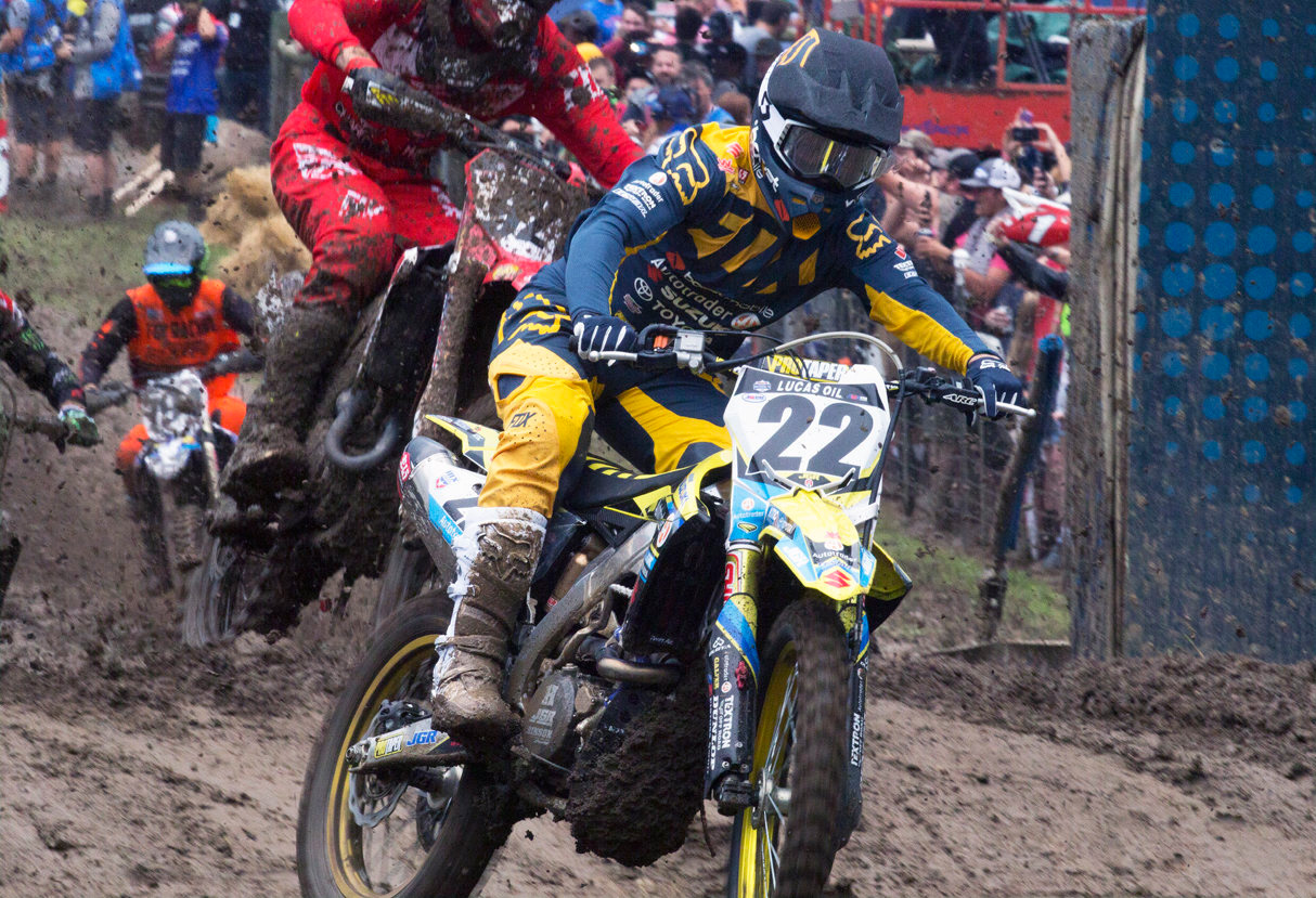 Several inches of rain and the resulting mud could not prevent Chad Reed (22) and his RM-Z450 from grabbing the second moto holeshot at the Ironman National MX finale in Indiana.