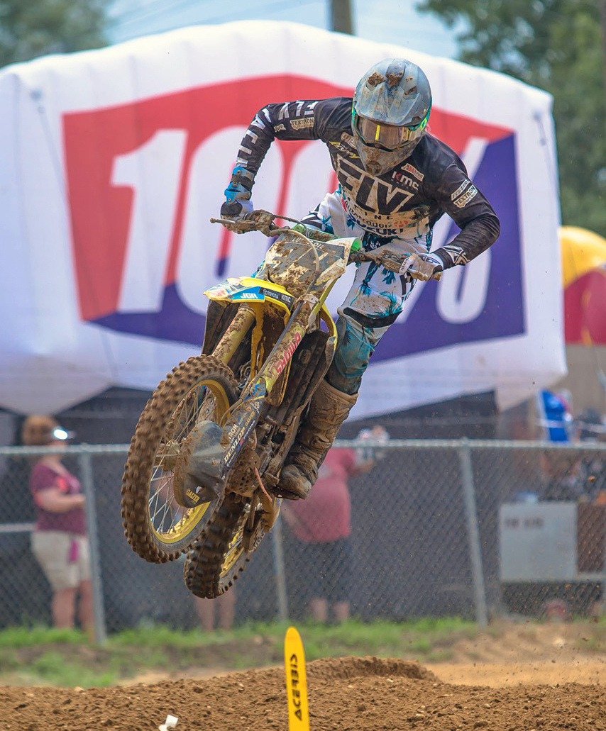 The anchor of the Autotrader-Yoshimura-Suzuki Factory Racing Team Weston Peick (34) and his RM-Z450