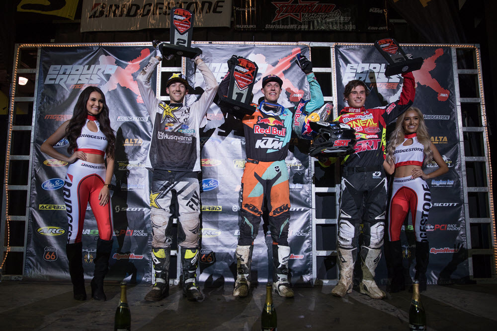 Webb (center), Haaker (left) and Hart finished first, second and third to kick off the 2018 EnduroCross season