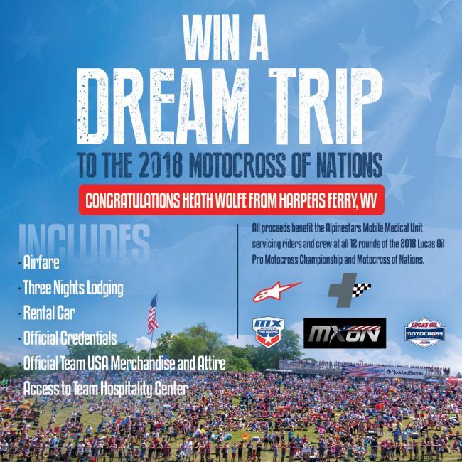 MX Sports Pro Racing Announces Winning Contestant of Win MXON Raffle Benefitting Alpinestars Mobile Medical Unit