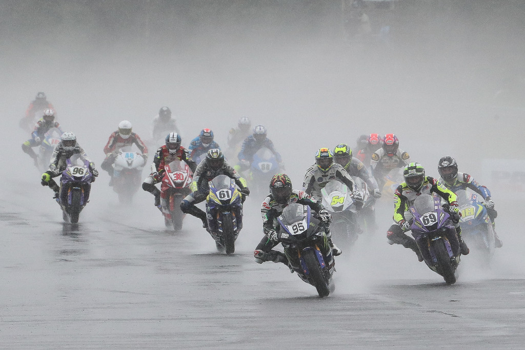 JD Beach (95) won Sunday's Supersport race a day after wrapping up the title
