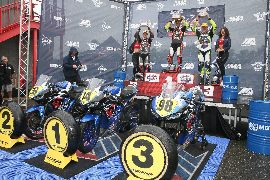 The top three from the Liqui Moly Junior Cup celebrate - New Jersey Motorsports Park