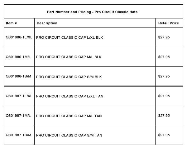 New Products- Pro Circuit Classic Hat - Part-Number-Pricing-R-6