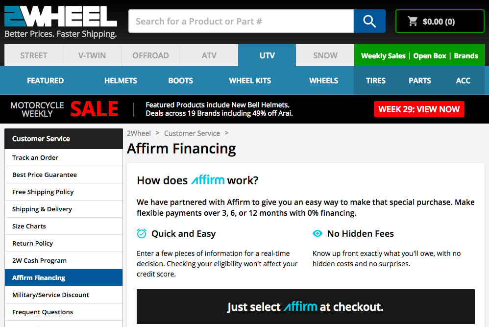 2Wheel - Affirm Financing - 0% Financing