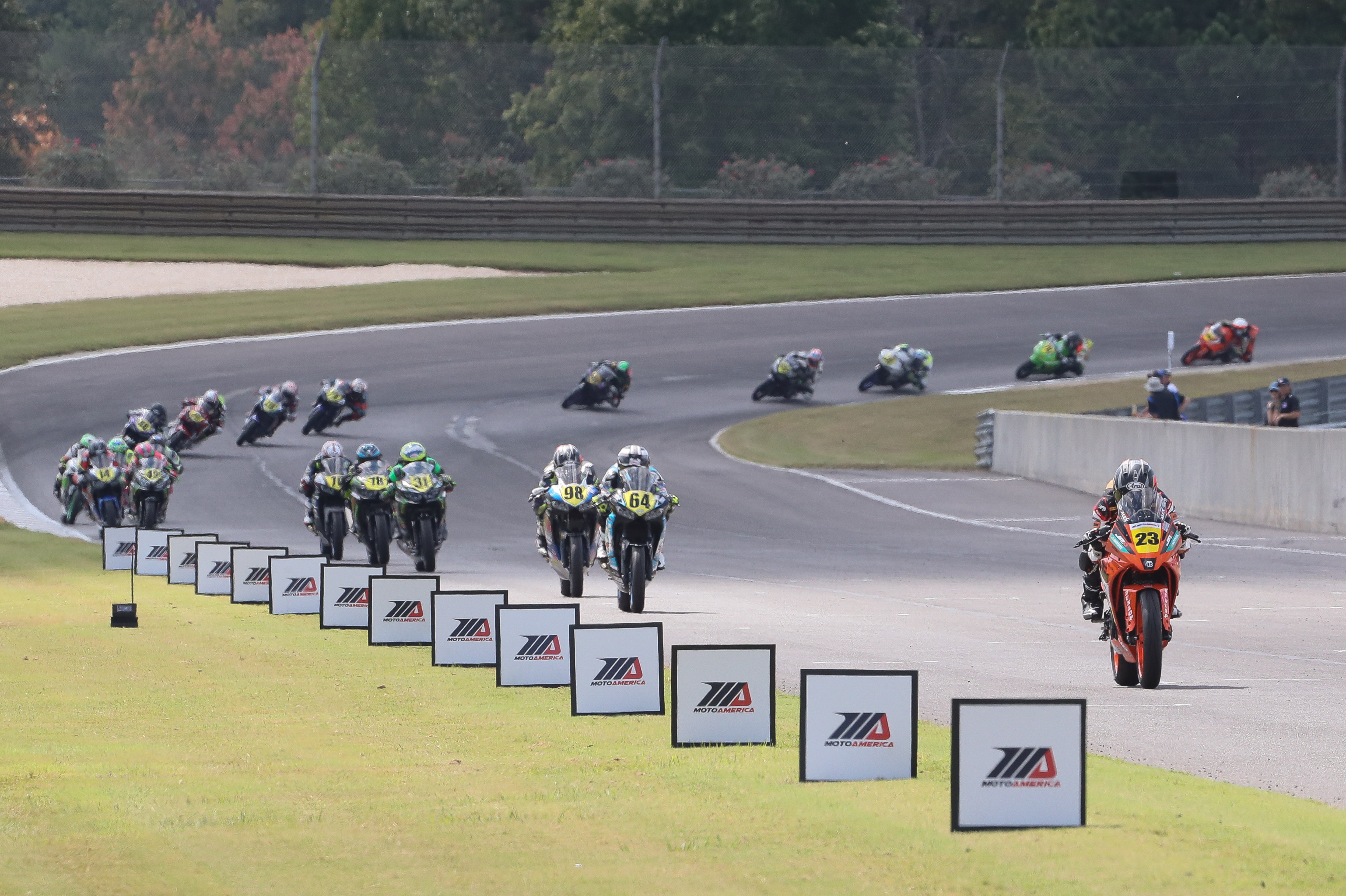 KTM's Alex Dumas (23) won the Liqui Moly Junior Cup race on Saturday at Barber