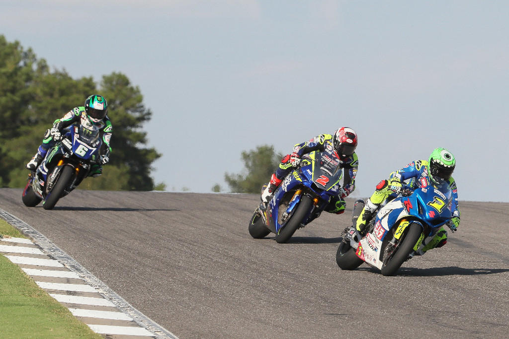 Toni Elias (1) leads Josh Herrin (2) and Cameron Beaubier (6) during their Motul Superbike battle - Barber