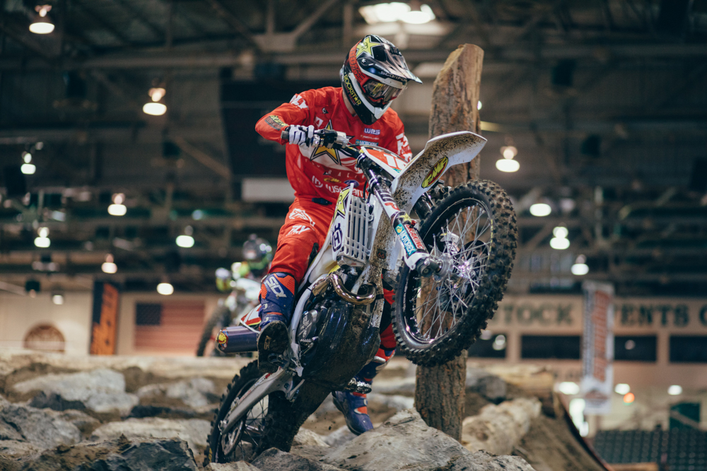 Colton Haaker rode a solid race but could not match the pace of Webb at Reno EnduroCross