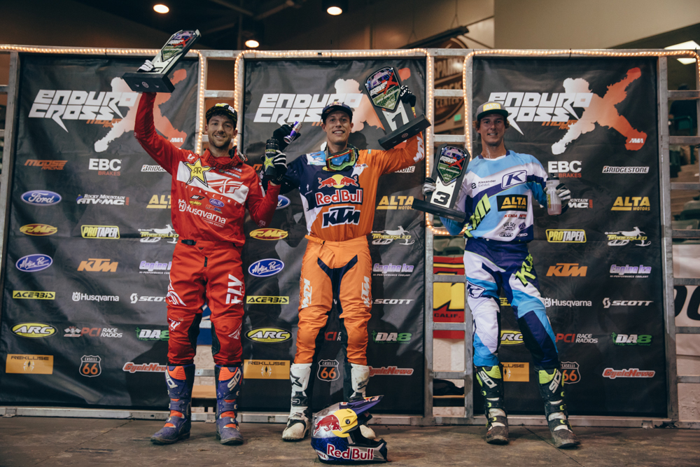Webb (center) Haaker (left) and Tremaine shared the Reno EnduroCross podium