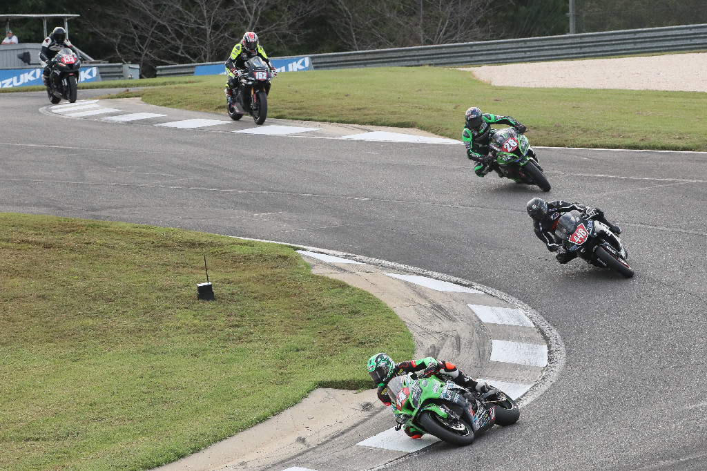 Andrew Lee (14) won his third Stock 1000 race of the year. Chad Lewin (448) was second with Shane Richardson (28) third - MotoAmerica