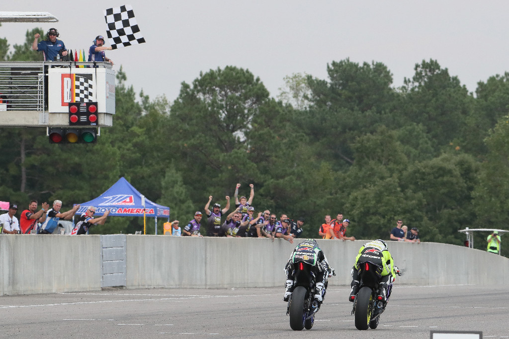 Hayden Gillim barely beat JD Beach to the flag in Sunday's Supersport race - MotoAmerica