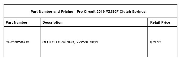 Pro Circuit 2019 YZ250F Clutch Springs - Part-Number-Pricing-R-1