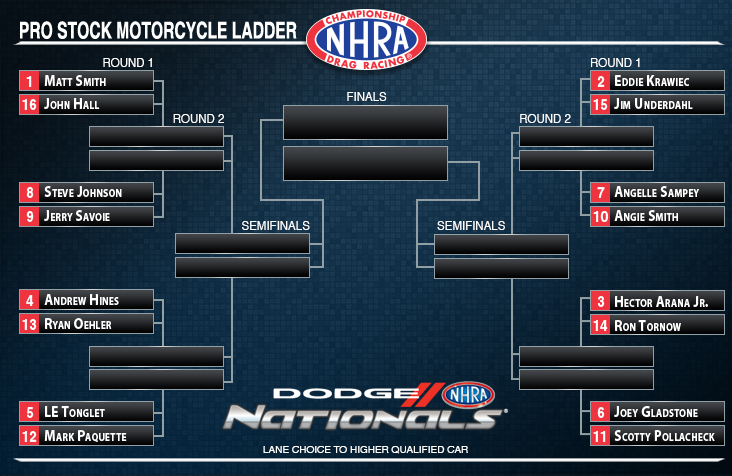 Dodge NHRA Nationals Pro Stock Motorcycle ladder